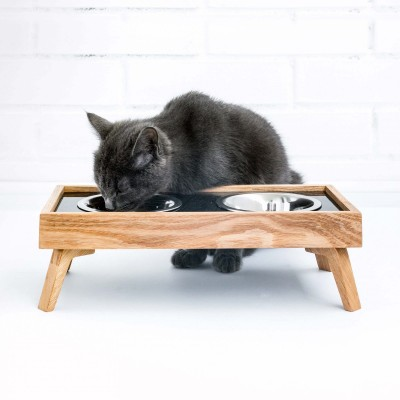 A cat eating from a luxury food and water dish