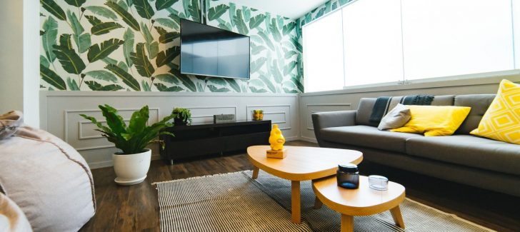 Living room with banana leaf wall paper