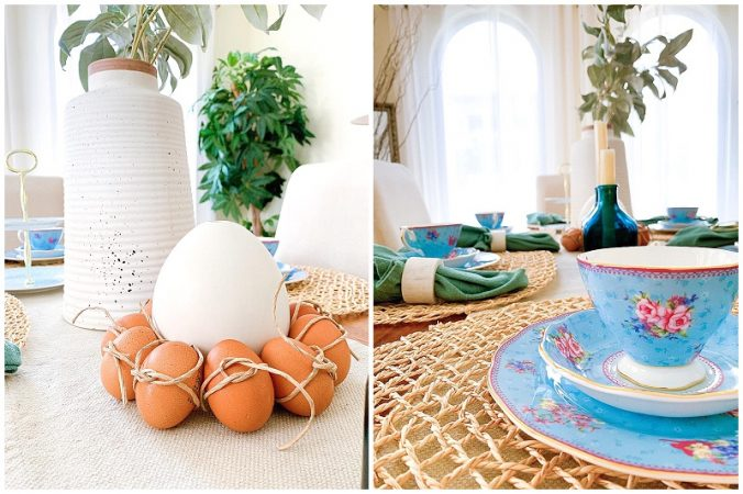 Blue Easter tablescape