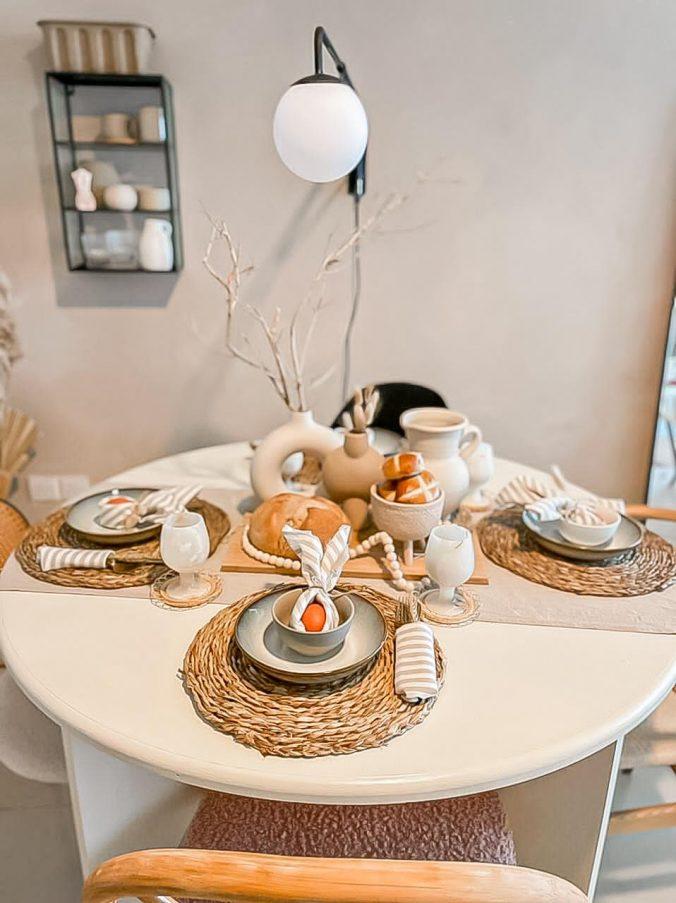 Scandi, Boho Easter tablescape