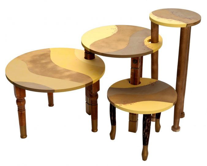 A stool in front of a wooden table